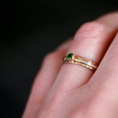 Green and 14k Gold Stacking Ring Set Chrome Diopside Gemstone Solitaire Fine Jewelry Three Bands Mixed Metal