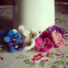tiny needle felted flowers