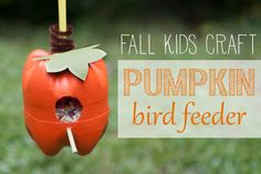 "Pumpkin bird feeder from plastic bottles Fall Crafts for Kids Challenge on ""So You Think You're Crafty"""
