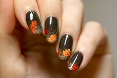 Glitter gradient with fall leaves, nail art tutorial by PiggieLuv