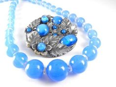 Blue Moonglow Brooch and Necklace Czechoslovakia by hipcricket, $45.00