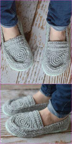 Crochet Adult Loafer Shoes Patterns - Crochet Women's Loafer Slippers Free Pattern