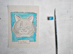 cat illustration in blue original wall art in watercolors by vumap, $35.00