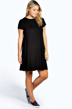 89e09416bdbe Jayda Short Sleeve Swing Dress at boohoo.com Affordable Dresses