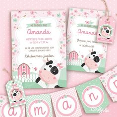 kit Imprimible Vaca Lola. Personalizable Cow Birthday, My Daughter Birthday, 1st Birthday Girls, 1st Birthday Parties, Cowgirl Party, Farm Theme, Event Themes, Party In A Box, Baby Shower