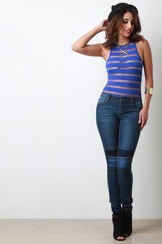 Semi-Sheer Stripe Mesh Round Neck Bodysuit
