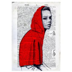Little RED RIDING HOOD illustration nursery art  by VincenzoRizzo, $10.00