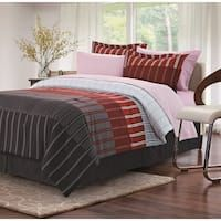 Ombre Stripe Red 8-piece Bed-In-Bag Set