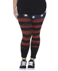 American Flag Printed Legging | Shop Jr. Plus at Wet Seal..very refreshing to see someone my size wearing stripes