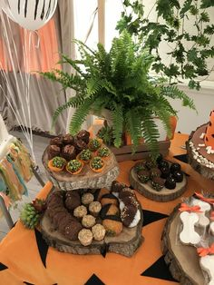 Fern and tree stump treat stand Girl Dinosaur Birthday, Baby Boy 1st Birthday Party, Half Birthday, Birthday Fun, Pebbles And Bam Bam, Reveal Parties, Bambam, Baby Boy Shower, First Birthdays