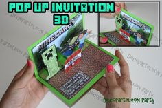 Minecraft 3D INVITATION - Printable Pop Up invitation Minecraft Birthday- Digital file