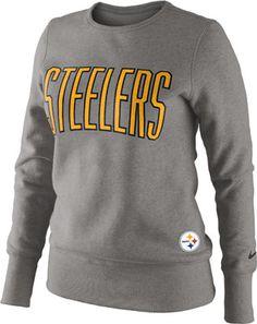 Pittsburgh Steelers Women's Heathered Grey Nike Tailgater Fleece Crew Sweatshirt