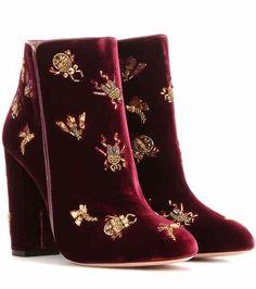 Fauna 105 embellished velvet ankle boots | Aquazzura