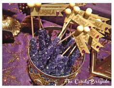 purple and gold candy   Purple & Gold Candy & Dessert Table: Moroccan Themed Shower
