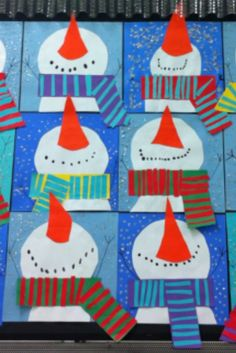 2nd grade: snowmen with scarves
