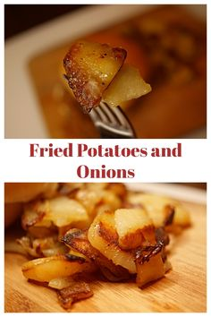 These pan fried potatoes are a perfect side dish. The thinly sliced potatoes cook to be perfectly crisp with amazing depth of flavor that your family will love Fried Potatoes Recipe Easy, Best Fried Potatoes, Skillet Potatoes, Easy Potato Recipes, Onion Recipes, Dinner Side Dishes, Potato Side Dishes, Perfect Fry