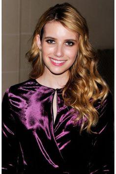 Emma Roberts Gorgeous Short Satin Purple Dress at Ferragamo Fashion Show BCD0621