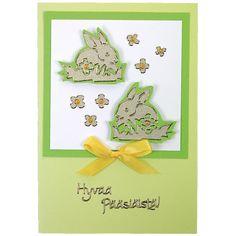 Ääriviivatarrojen avulla valmistettu pupu-aiheinen pääsiäiskortti. Tarvikkeet ja ideat Sinellistä!