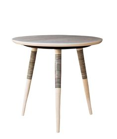 This maple tripod table offers up intricate detail on a simple silhouette. Using the same technique as in the art of Japanese hand tattooing, the stripes on the legs are painstakingly applied by hand. Also available in oak.