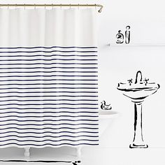 Balance out your space with the kate spade new york Harbour Stripe Shower Curtain and its clean, symmetrical lines. In cotton, this stylish shower curtain features thin, horizontal stripes that add a modern touch to your bathroom decor. Extra Long Shower Curtain, Long Shower Curtains, Striped Shower Curtains, Bathroom Shower Curtains, Fabric Shower Curtains, Master Bathroom, Basement Bathroom, Guest Bathrooms, Downstairs Bathroom