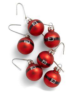 Mini Santa Belt Glass Ornaments Set