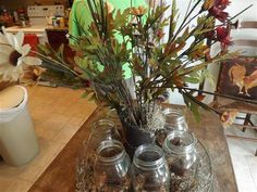 Decorating with nature and mason jars