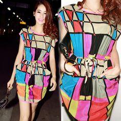 New 2014 Spring Summer Chiffon Short Batwing Sleeve Round Neck XL Plus Size Geometric Print Mini Womens Dresses Fashion Cute only $8.80