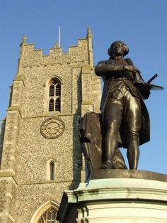 Statue of Mr Thomas Gainsborough outside St Peters Church