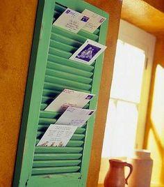 Repurpose Window Shutter as Mail Holder