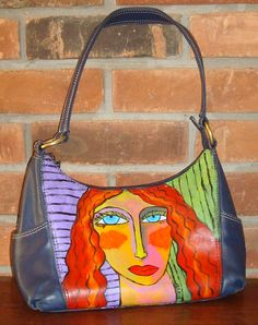 Hand Painted Handbag Purse Shoulder Bag Hand Painted Shoes, Painted Bags, Art  Bag, b622023a29