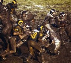 The 1977 Mud Bowl at the Coliseum between the Rams & Vikings.