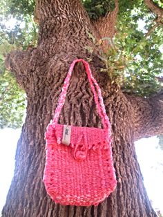 Experimental plastic Hand-woven sling bag