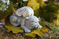 Angel Bulldog Garden Statues Concrete Bulldog by PhenomeGNOME, $29.99