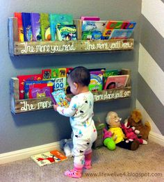 I have another crafty family member{s} to brag about today. My pretty cool, awesome and crafty sis/brother-in-law … Monica and Matt. They made the coolest little book shelf for Miss E and it&…