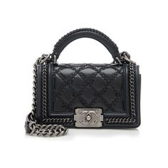 Chanel Rental Small Top Handle Boy Bag ($500) ❤ liked on Polyvore featuring bags, handbags, black, black handbags, black crossbody purse, quilted leather handbags, leather crossbody handbags и black leather purse