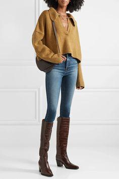 Light denim Ali high-rise skinny jeans | FRAME | NET-A-PORTER Blue Skinny Jeans Outfit, Light Blue Skinny Jeans, Jeans Outfit Winter, Light Denim, Jeans Skinny, Skinny Legs, Skinny Fit, Winter Outfits, Curvy Outfits