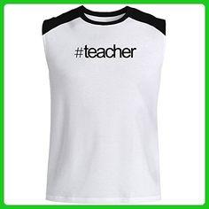 Idakoos - Hashtag Teacher - Occupations - Raglan Sleeveless T-Shirt - Careers professions shirts (*Amazon Partner-Link)