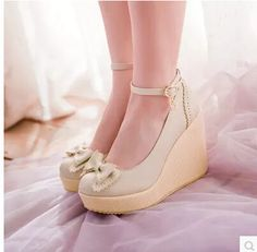 2015 women new fashion spring summer lacing cutout bow buckle high-heeled wedges shoes large plus size Wedge Shoes, Shoes Heels, Kawaii Shoes, Lolita Shoes, Cute Heels, Cute Boots, Dream Shoes, Fashion Heels, Mode Style