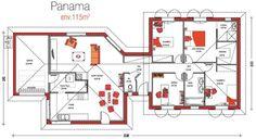 Maison PANAMA - Alpha Constructions | Faire construire sa maison Panama, House Front Design, Garden Types, Cabin Homes, Next At Home, My House, House Plans, Floor Plans, Construction