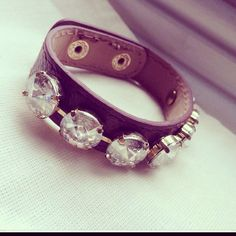 Leather cuff with Swarovski Chrystal detail Available now at Raining Dreams in Facebook