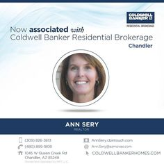 Please help us congratulate Ann Sery on her recent association with Coldwell Banker Residential Brokerage! Welcome Ann. #ColdwellBankerArizona