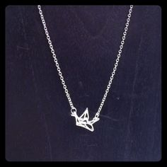 Dainty Geometric Paper Crane Silver Tone Necklace Dainty Geometric Paper Crane Silver Tone Necklace Jewelry Necklaces