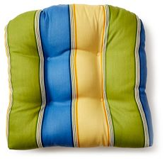 Striped 19x20 Chair Pad, Multi | Perk Up the Patio | One Kings Lane Patio Pillows, Throw Pillows, Chair Pads, One Kings Lane, Summer, Toss Pillows, Summer Time, Seat Cushions For Chairs, Decorative Pillows
