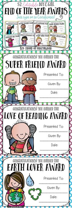 End of the Year Awards- EDITABLE! Type Names and Print!