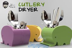 3D Printing a Kitchen Gadget  Practical use of 3d printing custom designs is what makes 3d printing the most cool thing ever. What about designing a Cutlery dryer? I designed one after i got inspired from a Clock design i saw somewhere on google. Watch the video to find out.