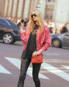Beautiful Elsa Hosk spotted during Milan Fashion Week wearing a Trussardi bomber jacket and the mini #LOVYBag from the Spring Summer 2017 collection #Trussardi #mfw