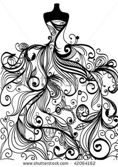 stock-vector-hand-drawn-elegant-wedding-dress-in-vector-42064162.jpg (331×470)