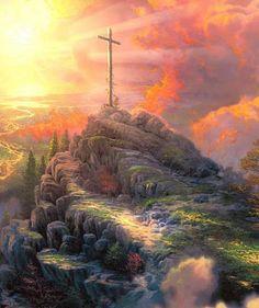 Thomas Kinkade Easter the Cross on Mountain