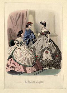 Civil War era fashion plate. Le Monde Elegant, September 1865 | In the Swan's Shadow