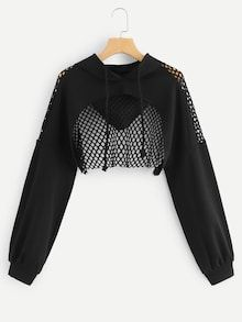 Product name: Mesh Contrast Crop Hoodie at SHEIN, Category: Sweatshirts Source by Zoescraftyworld kawaii Teen Fashion Outfits, Edgy Outfits, Mode Outfits, Grunge Outfits, Outfits For Teens, Girl Outfits, Emo Fashion, Lolita Fashion, Summer Outfits